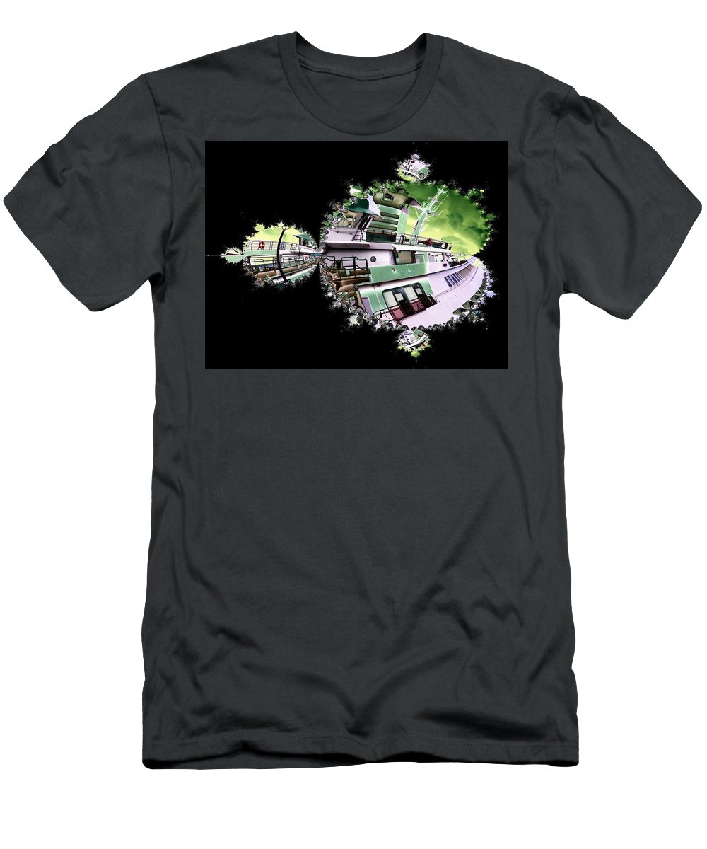 Seattle Men's T-Shirt (Athletic Fit) featuring the digital art Ferry In Fractal by Tim Allen