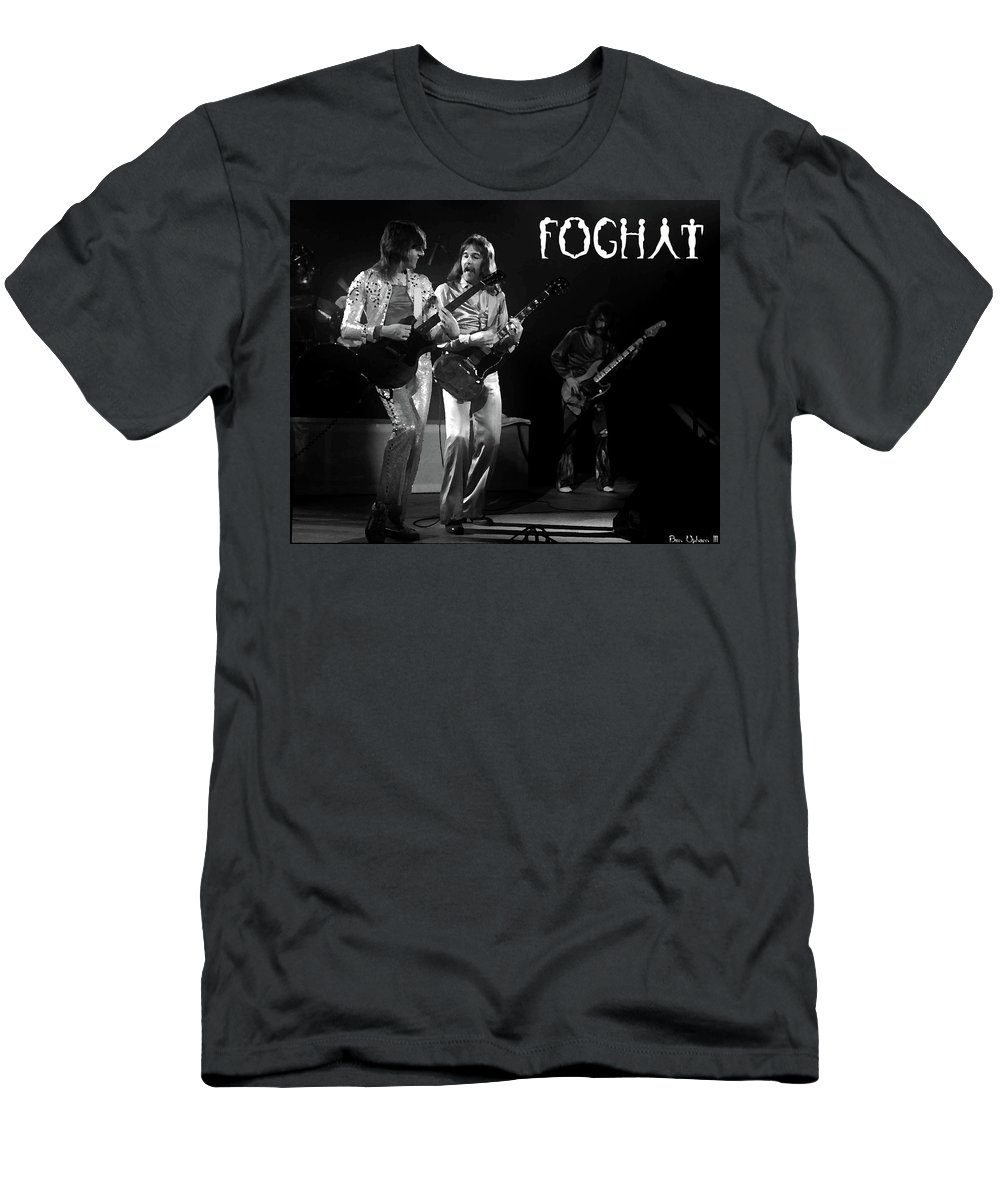 Foghat Men's T-Shirt (Athletic Fit) featuring the digital art Fhat#39 Enhanced Bw With Text by Ben Upham