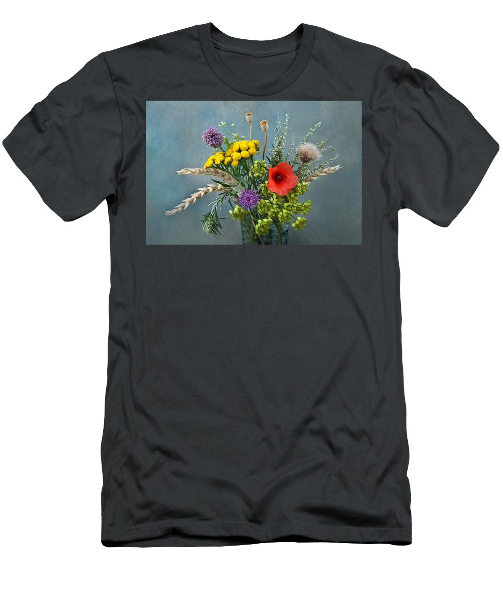 Field Men's T-Shirt (Athletic Fit) featuring the photograph Field Flowers by Manfred Lutzius