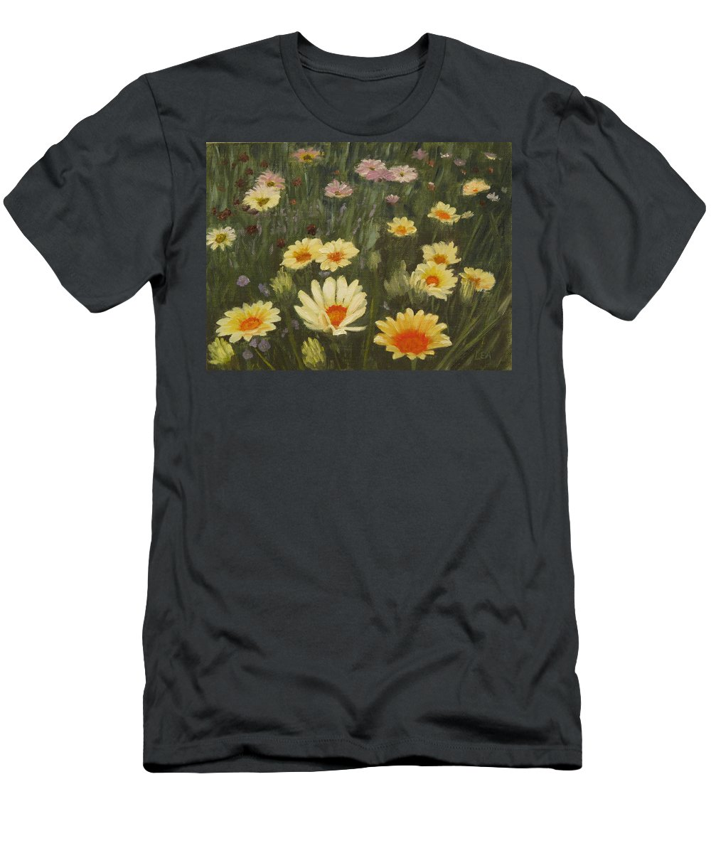 Flower Men's T-Shirt (Athletic Fit) featuring the painting Field Of Flowers by Lea Novak