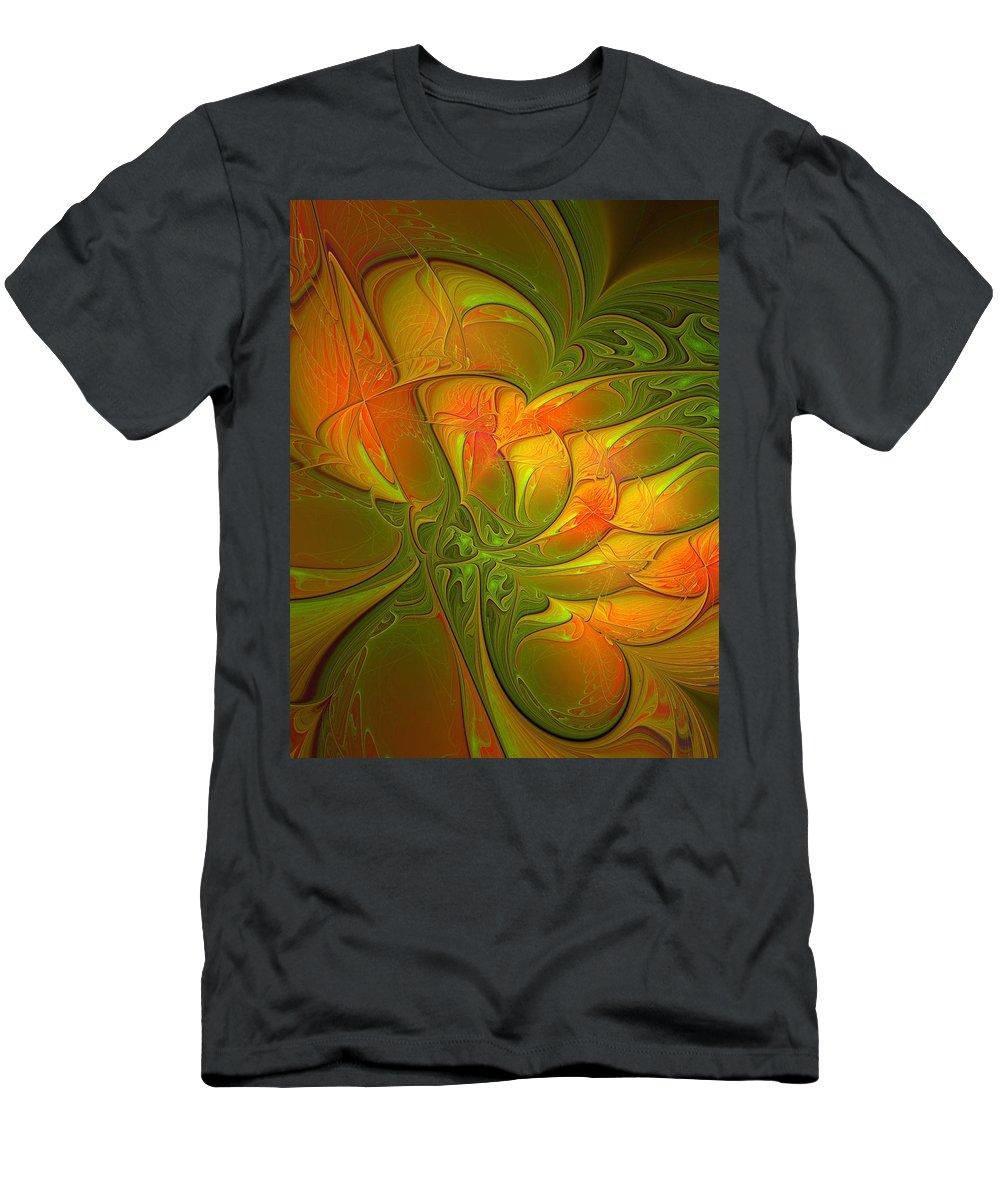 Digital Art Men's T-Shirt (Athletic Fit) featuring the digital art Fiery Glow by Amanda Moore