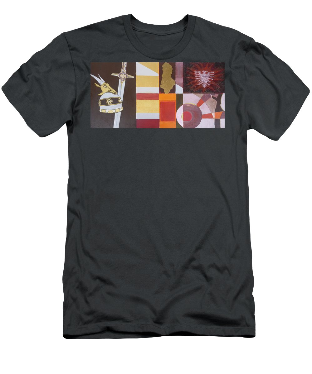 Oil Men's T-Shirt (Athletic Fit) featuring the painting Figurativ Albanian Simbols by Alban Dizdari