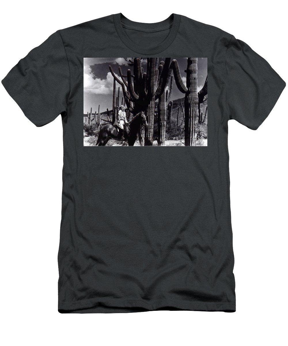Film Homage Jean Harlow Bombshell 1933 Saguaro National Monument Tucson Arizona Duo-tone 2008 Men's T-Shirt (Athletic Fit) featuring the photograph Film Homage Jean Harlow Bombshell 1933 Saguaro National Monument Tucson Arizona Duo-tone 2008 by David Lee Guss