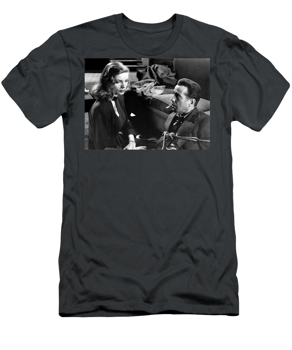 Film Noir Publicity Photo #2 Bogart And Bacall The Big Sleep 1945-46 Men's T-Shirt (Athletic Fit) featuring the photograph Film Noir Publicity Photo #2 Bogart And Bacall The Big Sleep 1945-46 by David Lee Guss