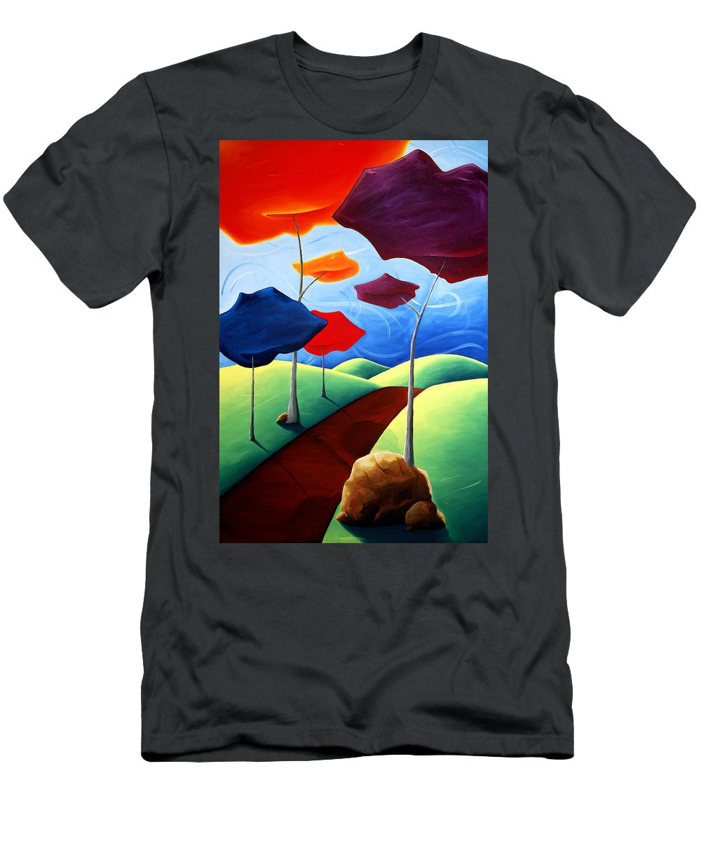 Landscape Men's T-Shirt (Athletic Fit) featuring the painting Finding Your Way by Richard Hoedl