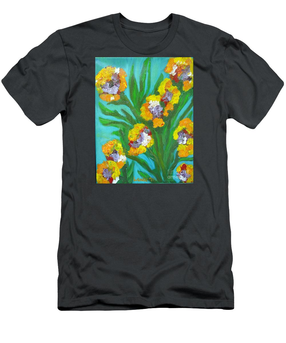 Flower T-Shirt featuring the painting Fire Blossoms by Laurie Morgan