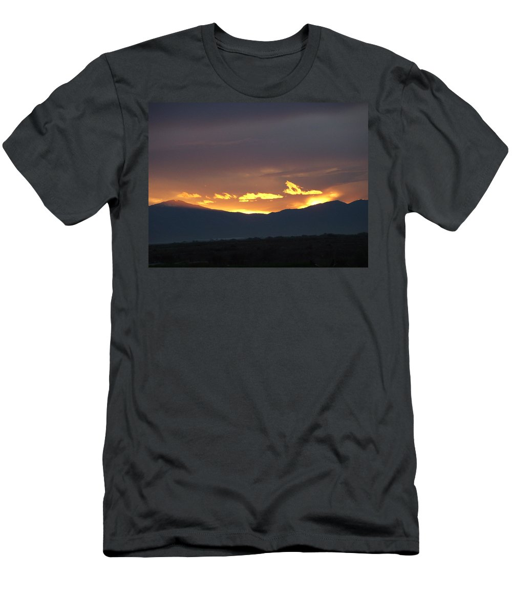Sunset Men's T-Shirt (Athletic Fit) featuring the photograph Fire In The Sky by Shari Chavira