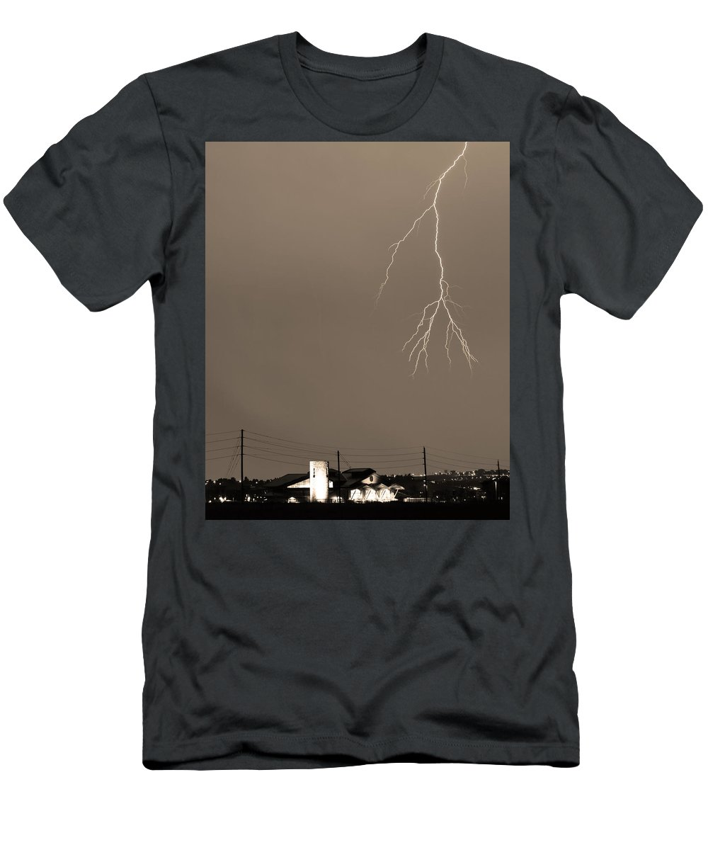 Boulder Men's T-Shirt (Athletic Fit) featuring the photograph Fire Rescue Station 67 Lightning Thunderstorm 2c Bw Sepia by James BO Insogna