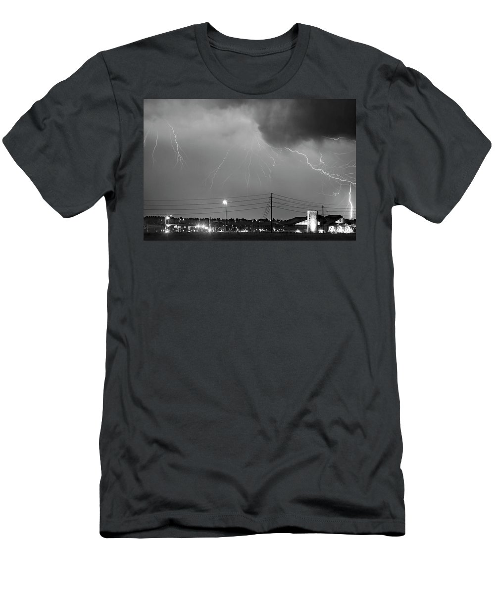 Boulder Men's T-Shirt (Athletic Fit) featuring the photograph Fire Rescue Station 67 Lightning Thunderstorm Black And White by James BO Insogna