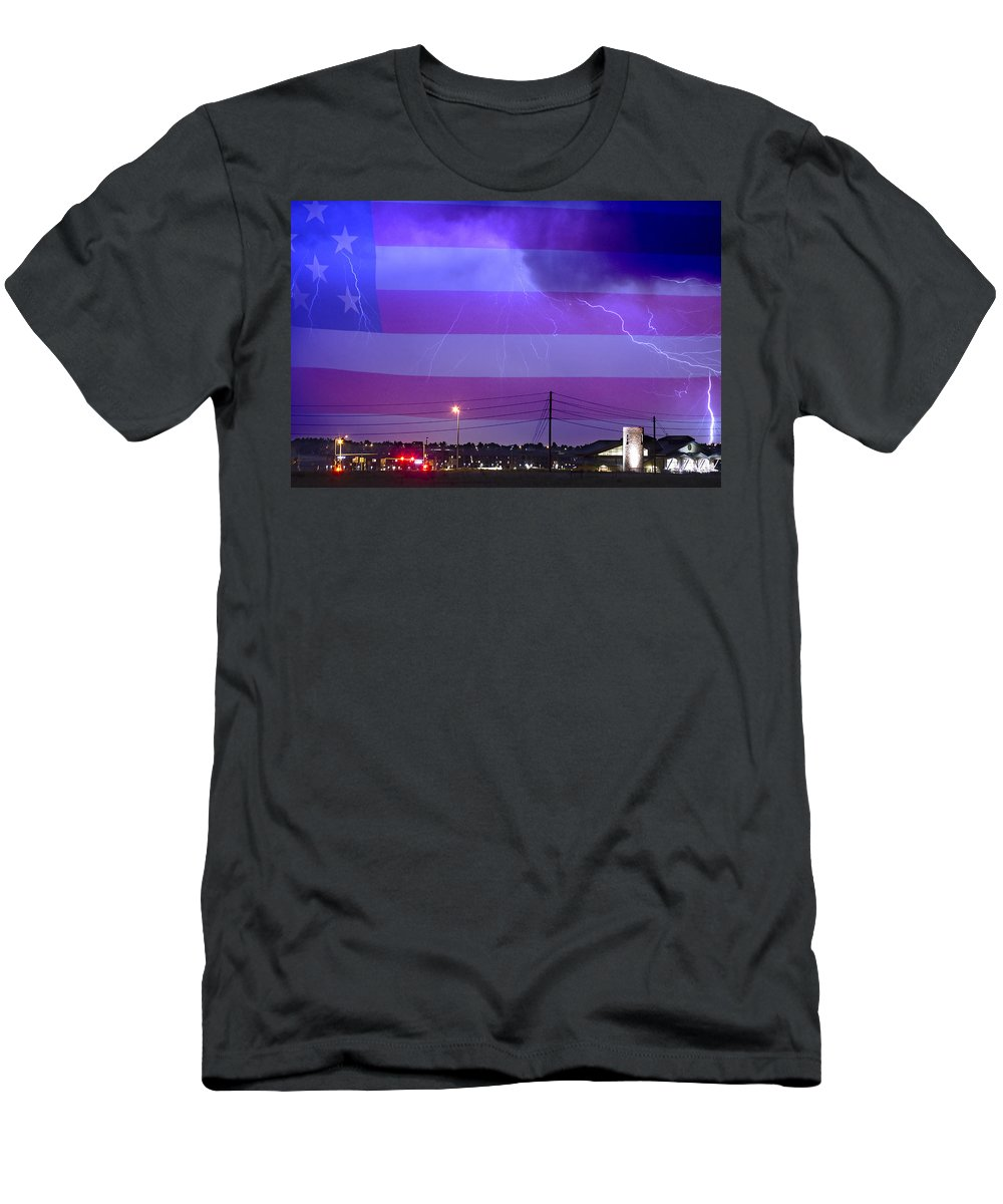 Boulder Men's T-Shirt (Athletic Fit) featuring the photograph Fire Rescue Station 67 Lightning Thunderstorm With Usa Flag by James BO Insogna