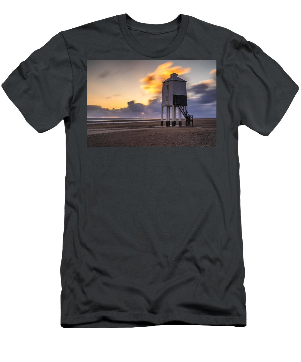 Lighthouse Men's T-Shirt (Athletic Fit) featuring the photograph Fire Skies by Rich Wiltshire