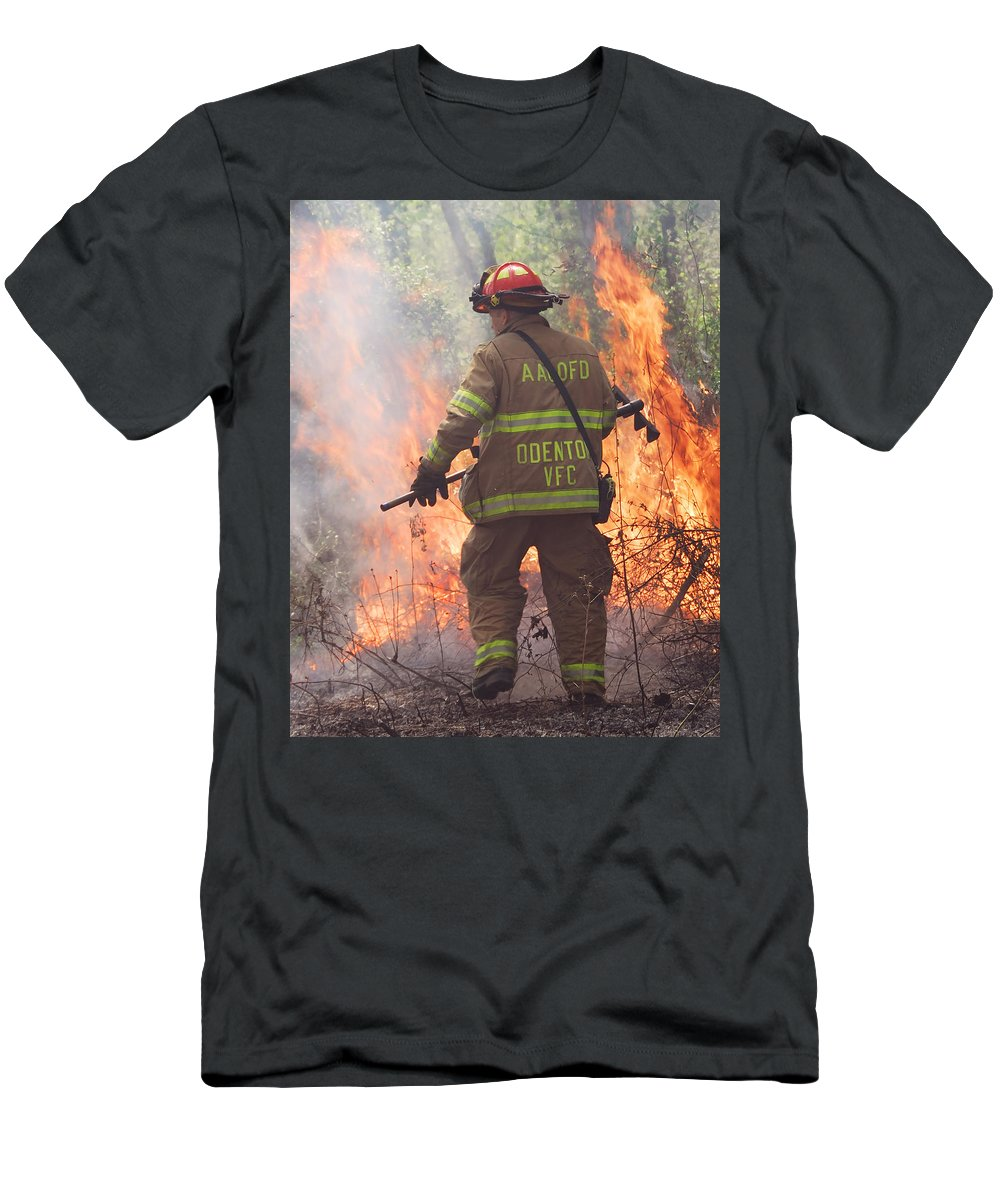 Fire Men's T-Shirt (Athletic Fit) featuring the photograph Firefighter 967 by Francesa Miller