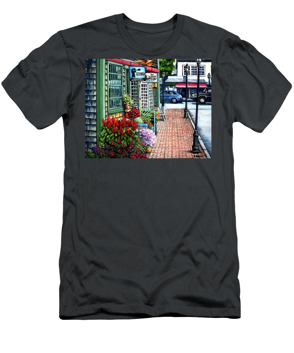 Bar Harbor Men's T-Shirt (Athletic Fit) featuring the painting Firefly Lane Bar Harbor Maine by Eileen Patten Oliver