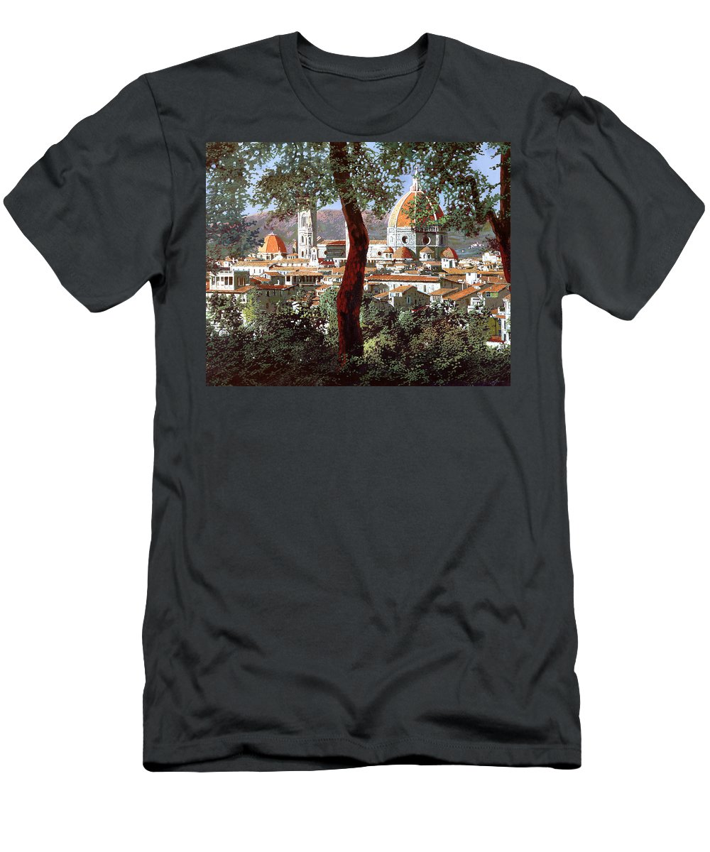 Landscape Men's T-Shirt (Athletic Fit) featuring the painting Firenze by Guido Borelli