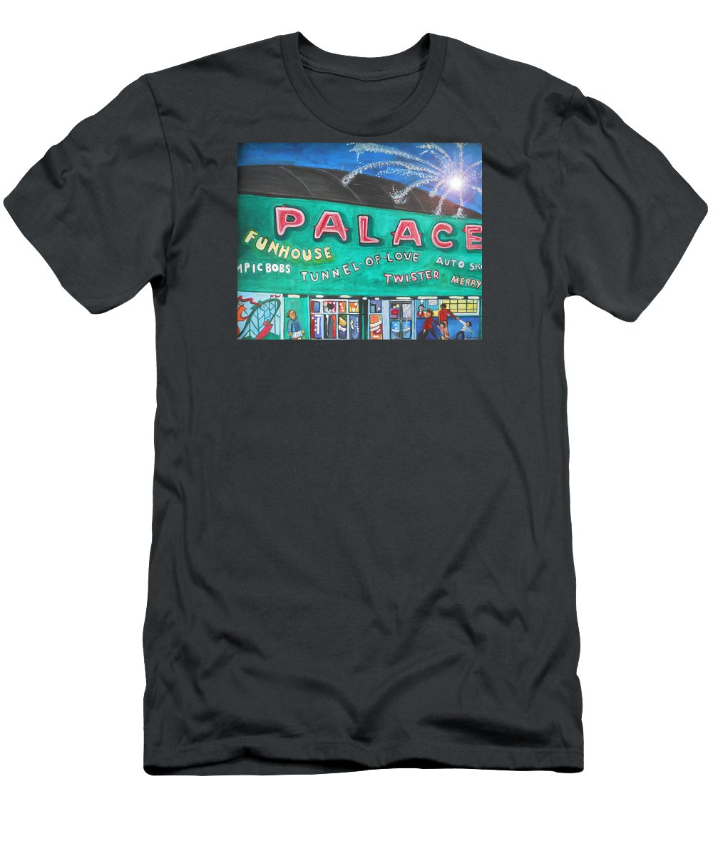 Asbury Park Art Men's T-Shirt (Athletic Fit) featuring the painting Fireworks At The Palace by Patricia Arroyo