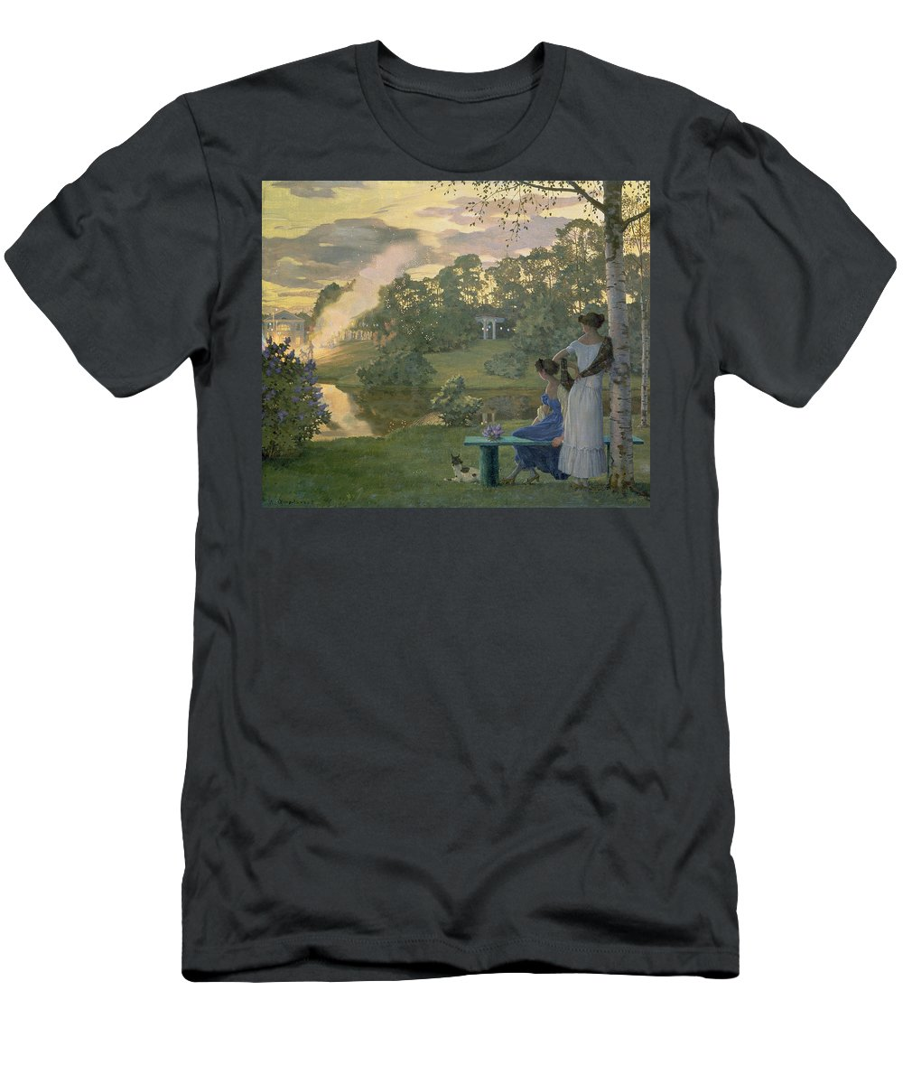 Fireworks Men's T-Shirt (Athletic Fit) featuring the painting Fireworks by Konstantin Andreevic Somov