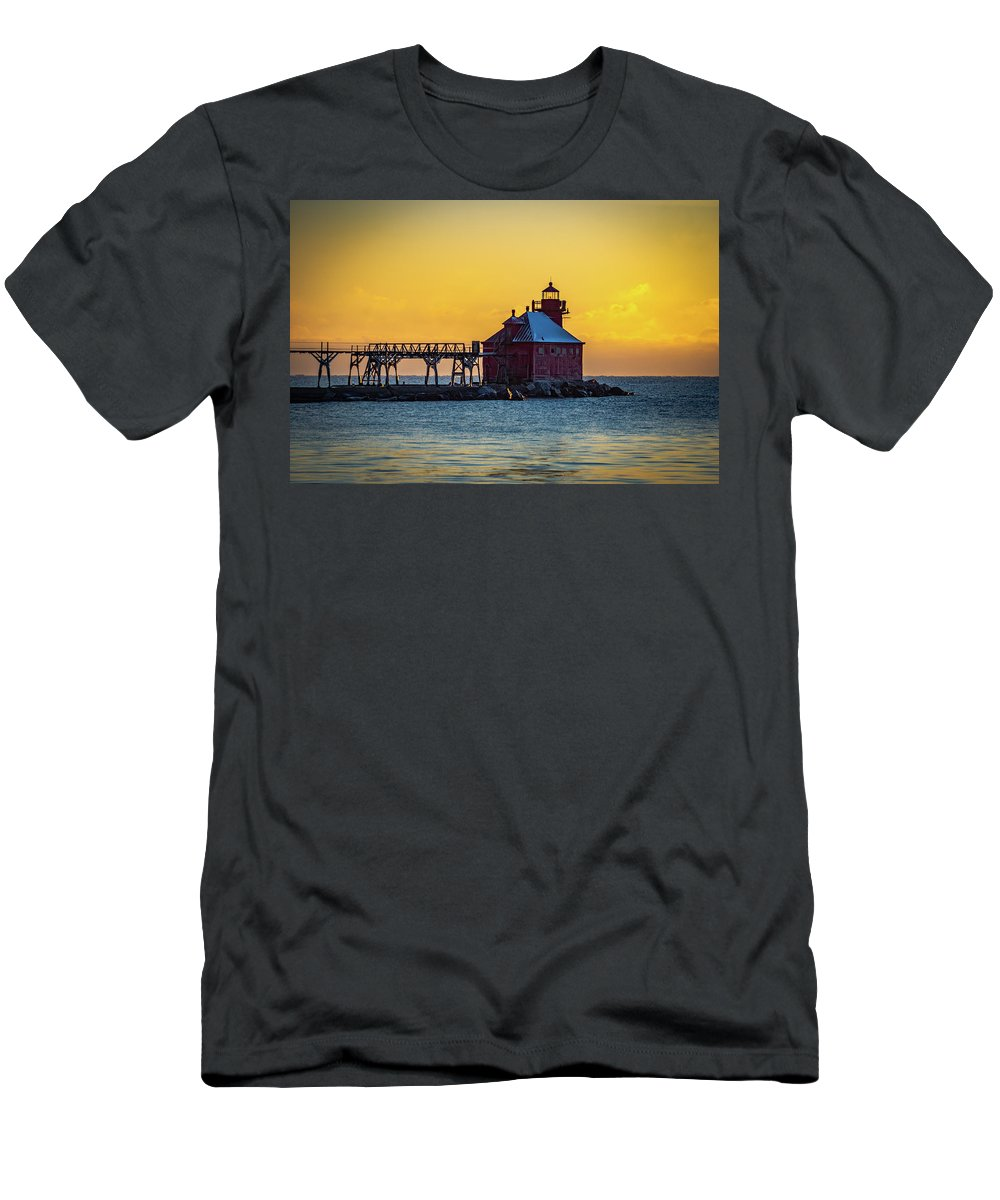 Sturgeon Bay Men's T-Shirt (Athletic Fit) featuring the photograph First Light by Kim Banker