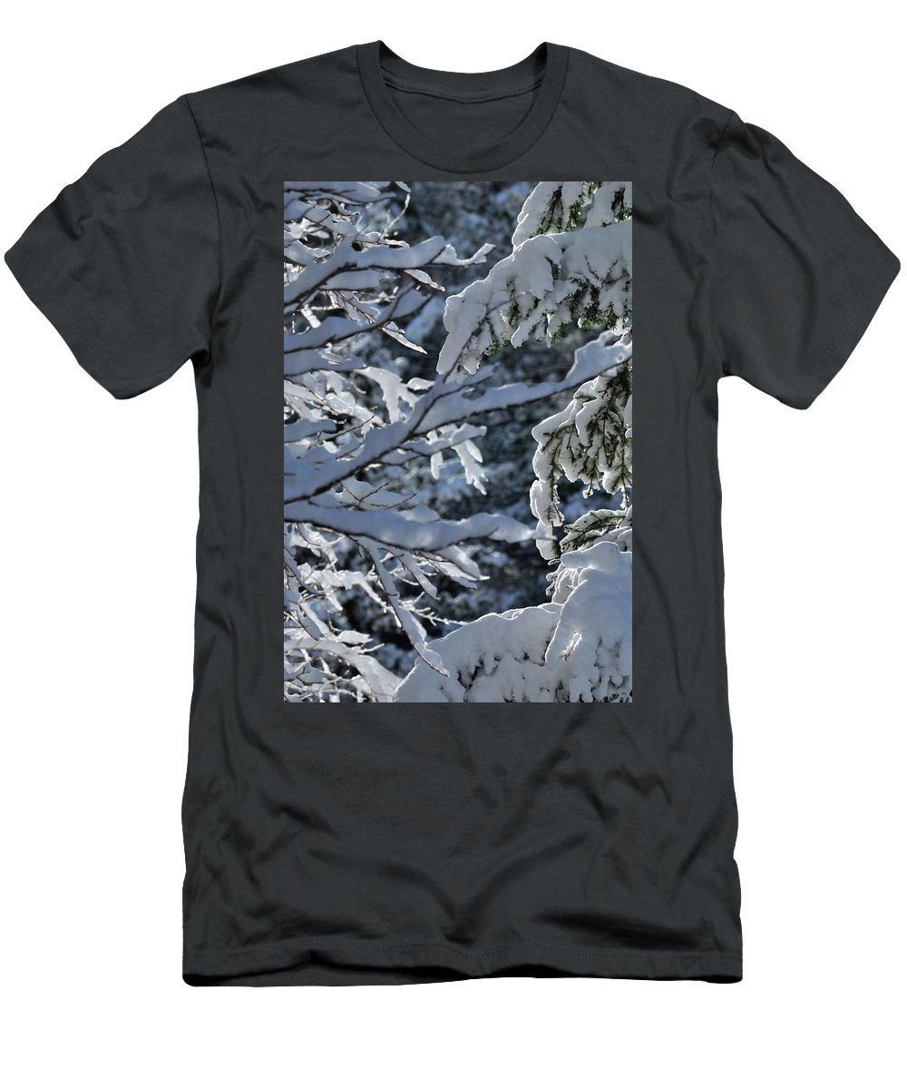 Snow Men's T-Shirt (Athletic Fit) featuring the photograph First Snow II by Ron Cline