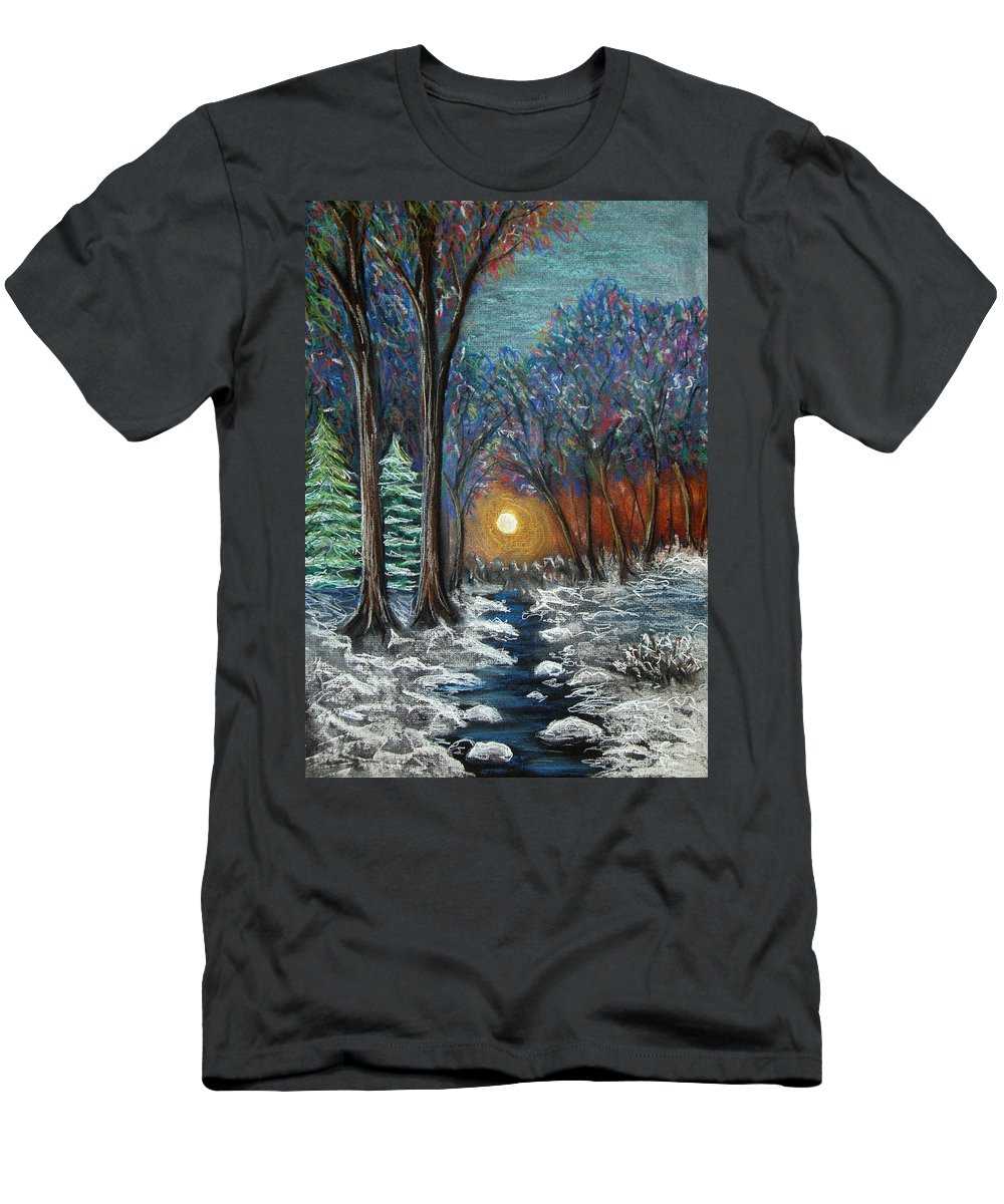 Snow Men's T-Shirt (Athletic Fit) featuring the pastel First Snow by Nancy Mueller