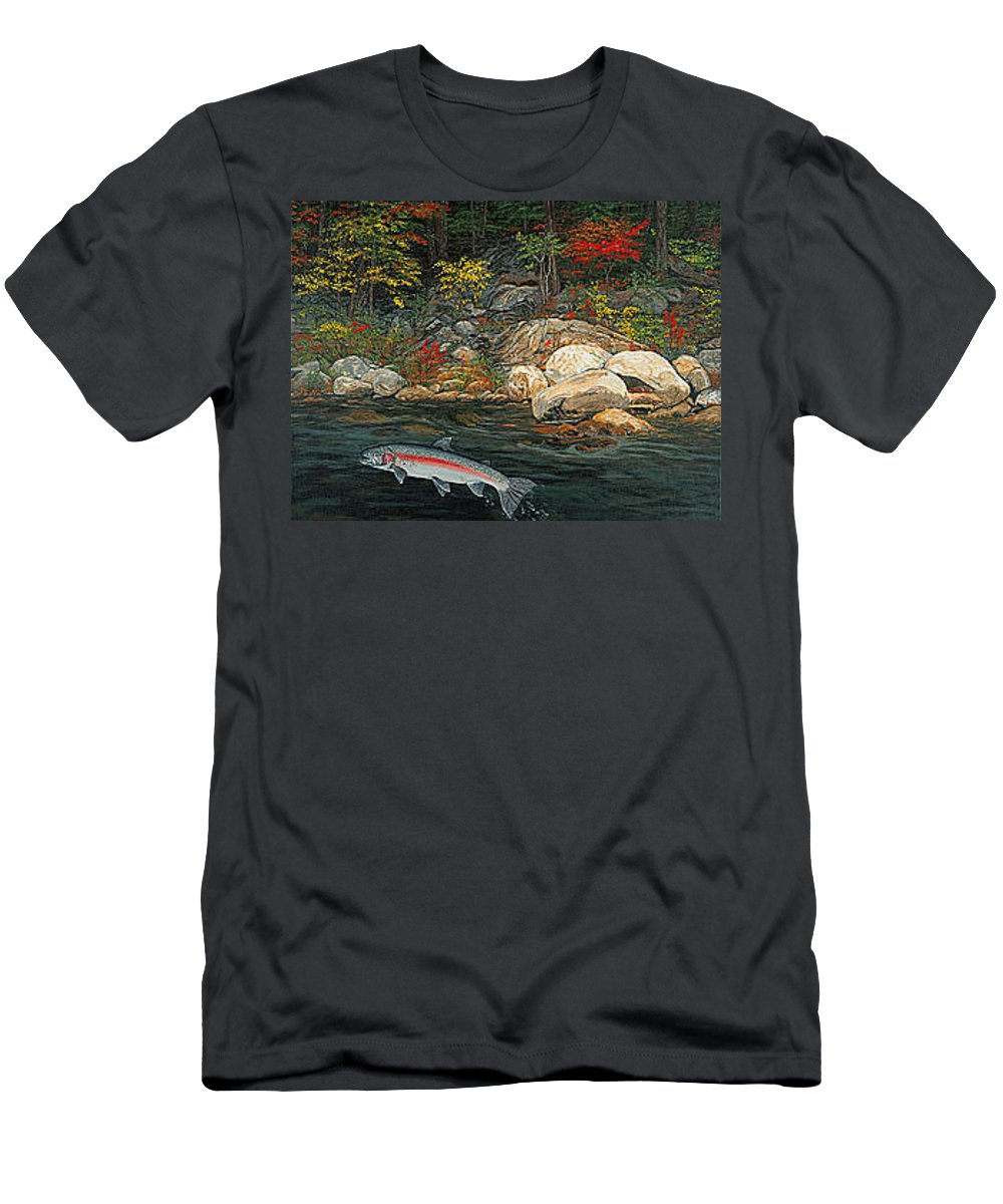 Art Men's T-Shirt (Athletic Fit) featuring the painting Fish Art Jumping Silver Steelhead Trout Art Nature Artwork Giclee Wildlife Underwater Wall Art Work by Baslee Troutman