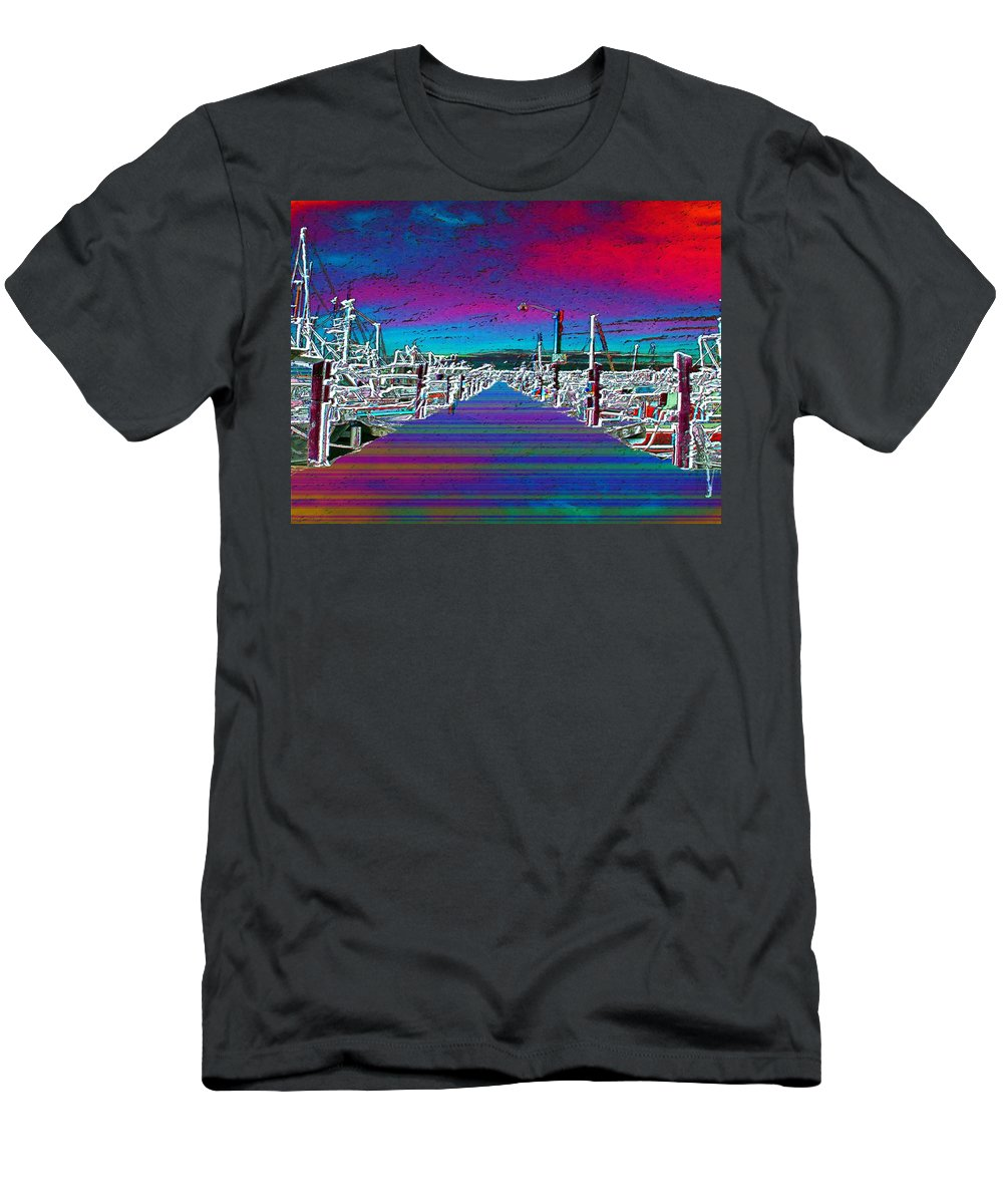 Seattle Men's T-Shirt (Athletic Fit) featuring the photograph Fishermans Terminal Pier by Tim Allen