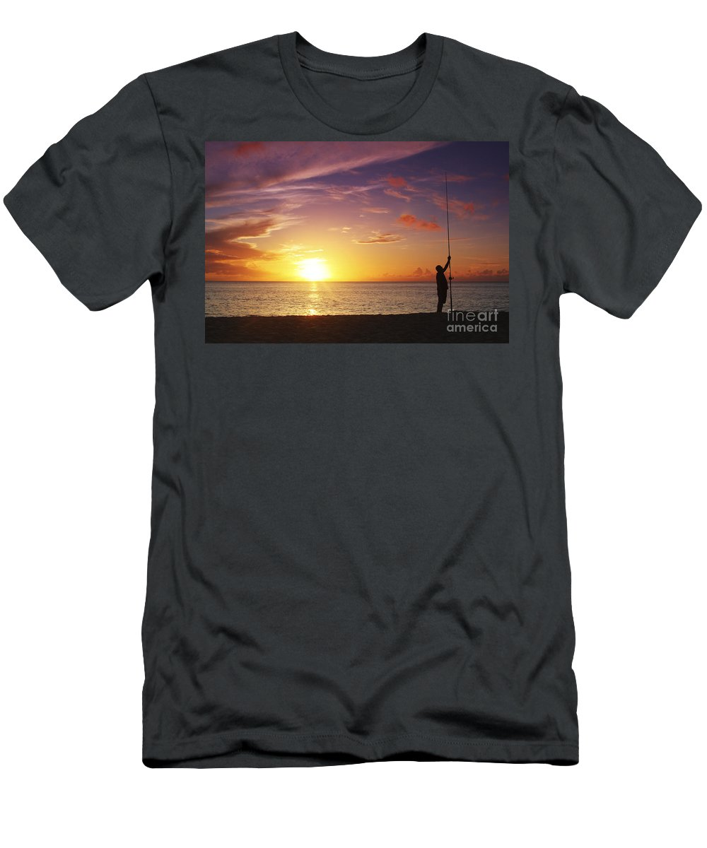Beach Men's T-Shirt (Athletic Fit) featuring the photograph Fishing At Sunset by Vince Cavataio - Printscapes