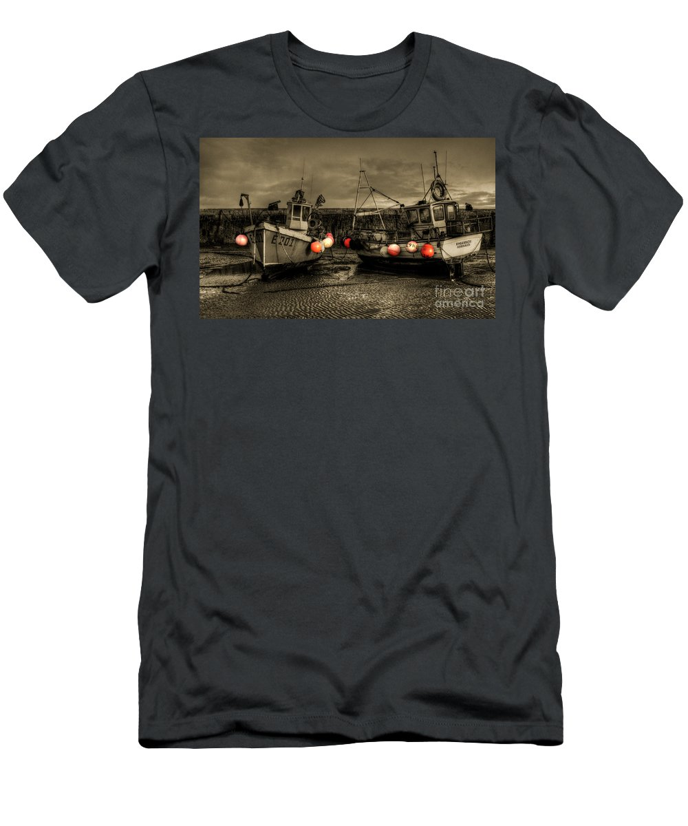 Fishing Men's T-Shirt (Athletic Fit) featuring the photograph Fishing Boats At Lyme Regis by Rob Hawkins