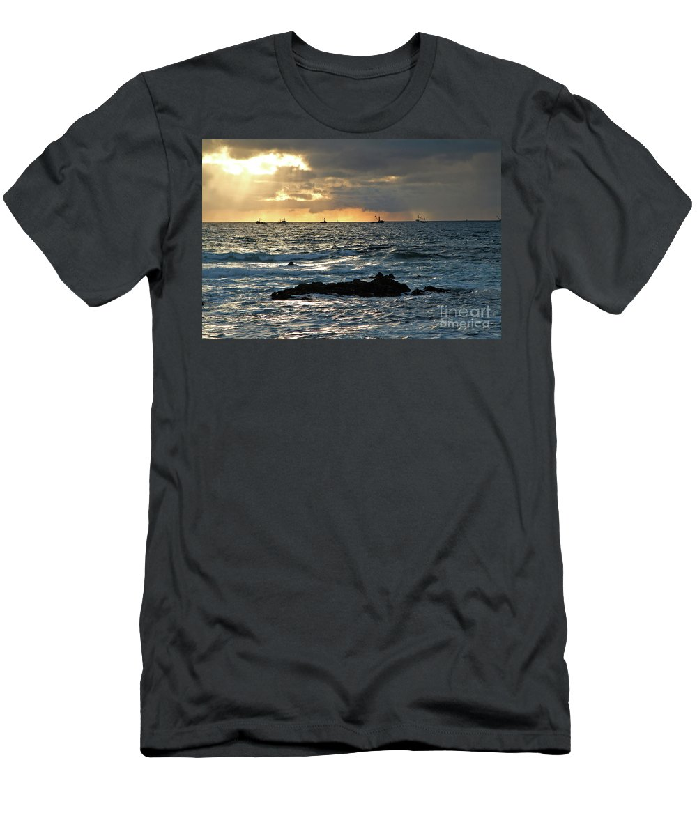 Fishing Boats Men's T-Shirt (Athletic Fit) featuring the photograph Fishing Boats Off Point Lobos by Charlene Mitchell