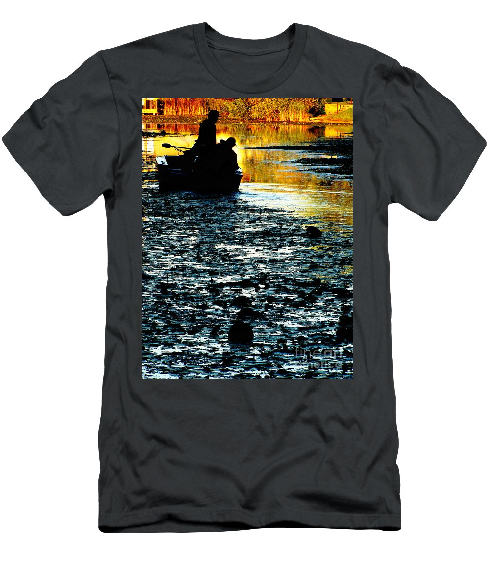 Fishing Men's T-Shirt (Athletic Fit) featuring the photograph Fishing In The Pond by Ron Tackett