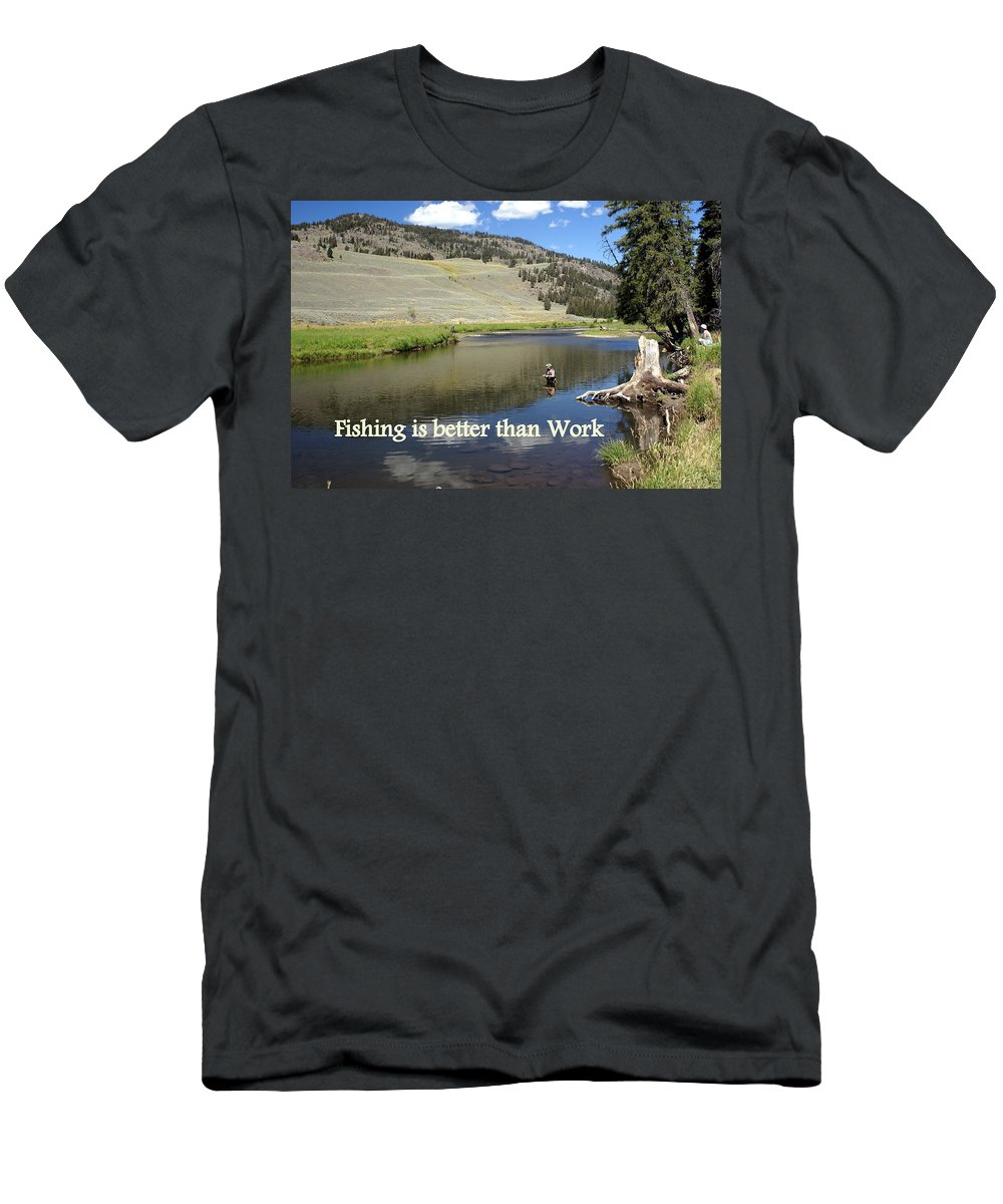 Photo Greeting Card Men's T-Shirt (Athletic Fit) featuring the greeting card Fishing Is Better Than Work by Marty Koch