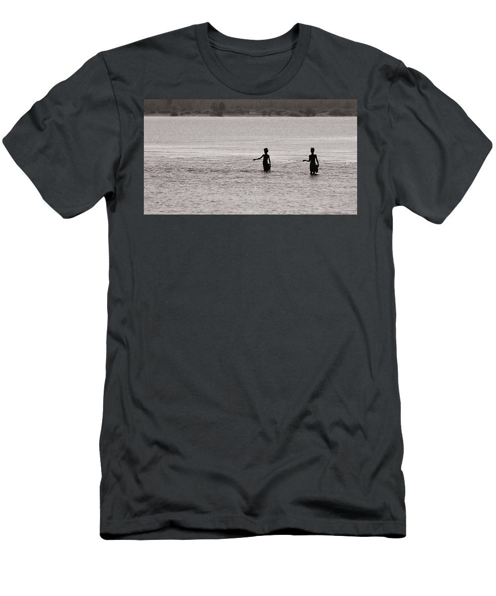Krishnan Srinivasan Men's T-Shirt (Athletic Fit) featuring the photograph Fishing by Krishnan Srinivasan