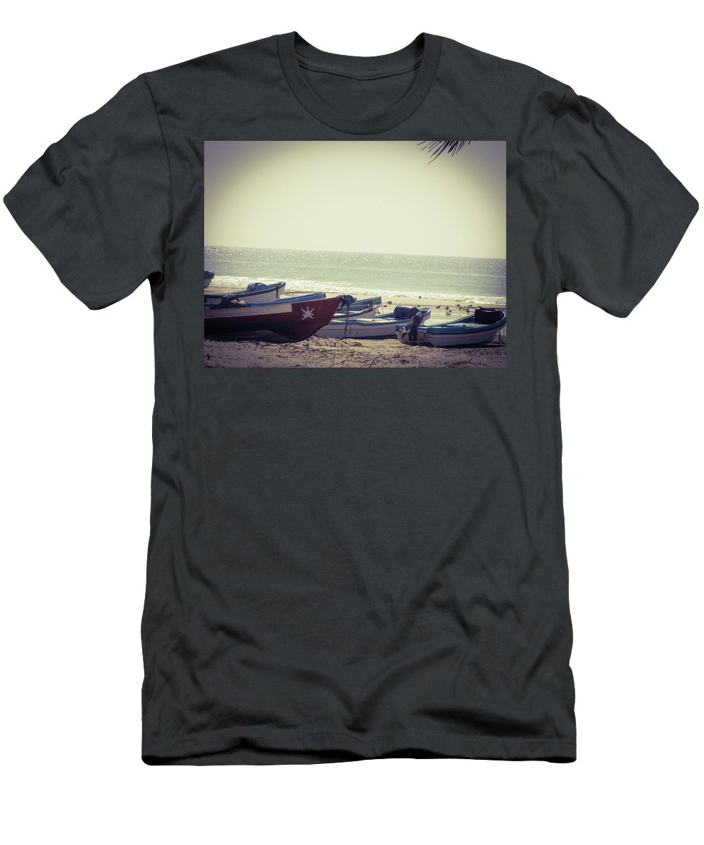 Boats Men's T-Shirt (Athletic Fit) featuring the photograph Fishing Season by Christina Zizzo