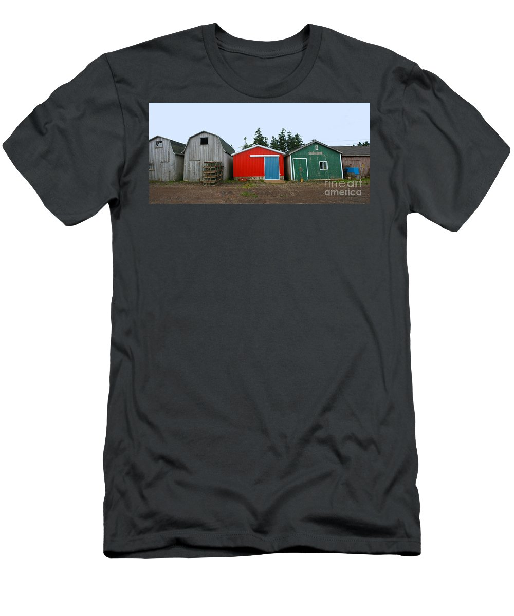 Fishing Men's T-Shirt (Athletic Fit) featuring the photograph Fishing Shacks Prince Edward Island Canada by Thomas Marchessault