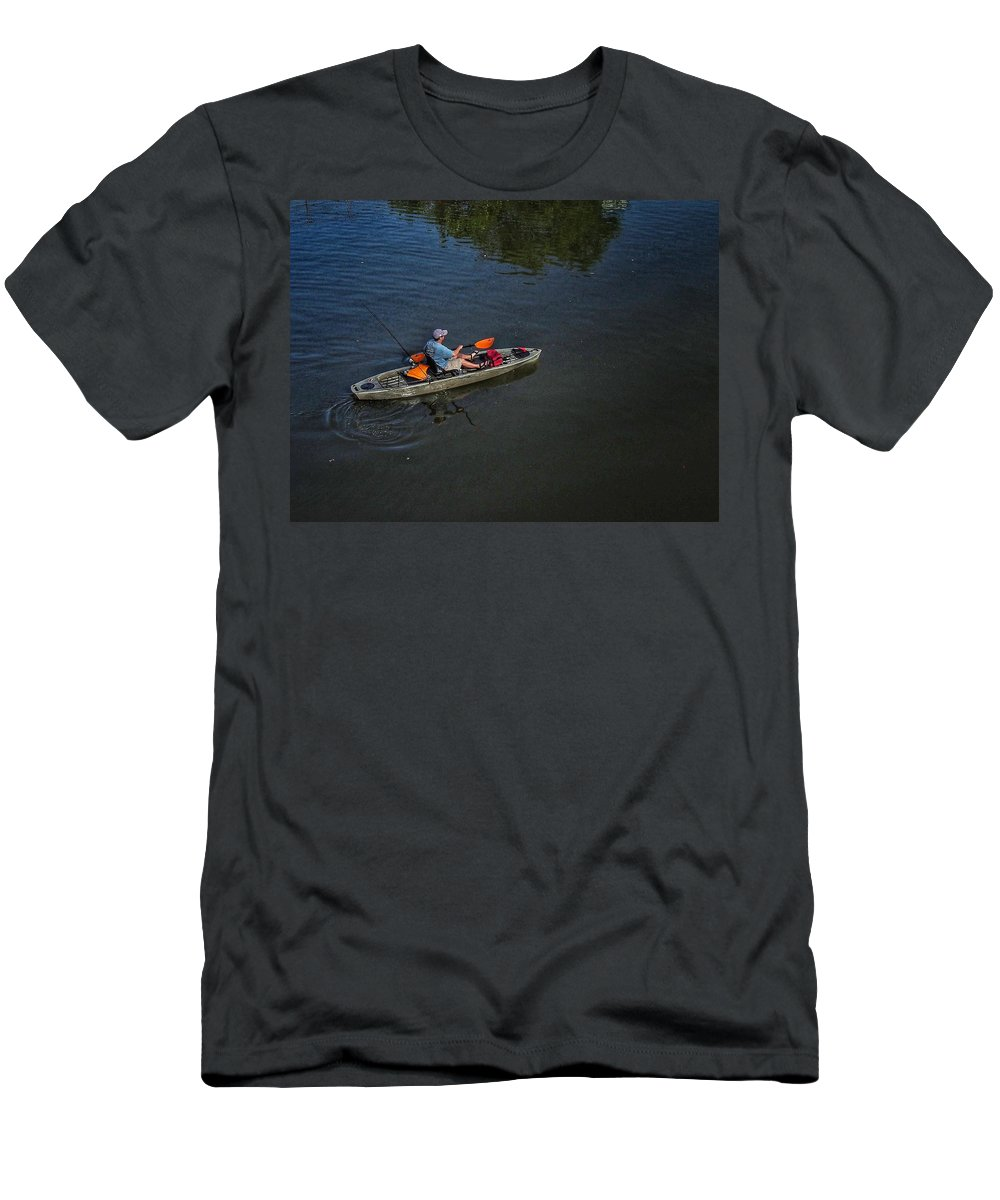 Lake Overholser Men's T-Shirt (Athletic Fit) featuring the photograph Fishing The Bypass Canal by Buck Buchanan