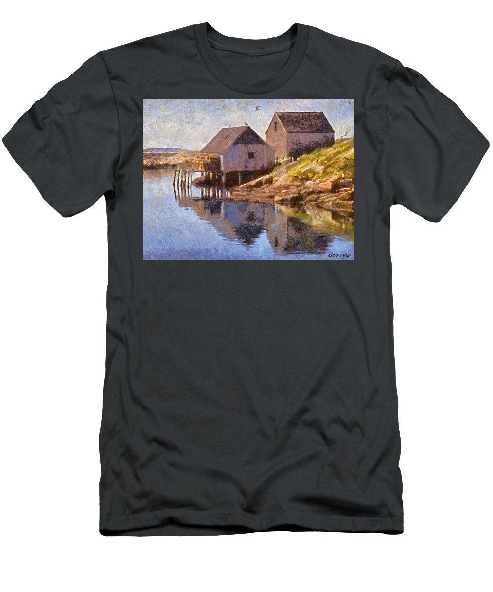 Canadian Men's T-Shirt (Athletic Fit) featuring the painting Fishing Wharf by Jeffrey Kolker