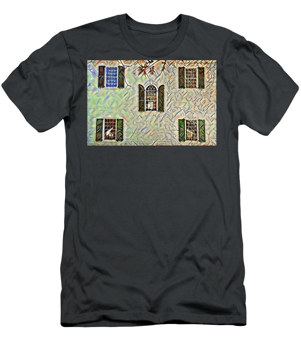 Five Men's T-Shirt (Athletic Fit) featuring the painting Five Windows Watercolor by Bill Cannon