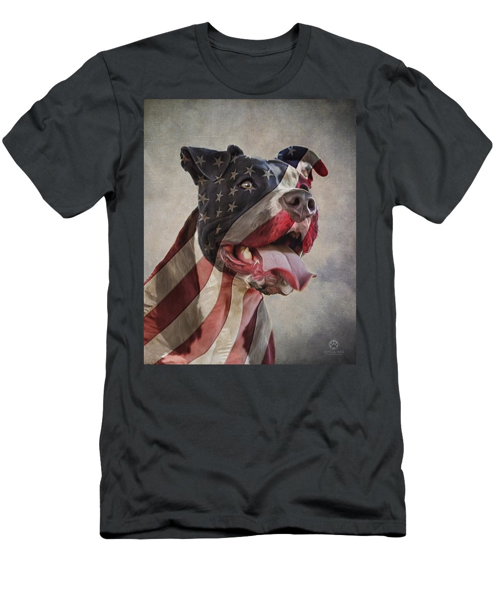 Flag Men's T-Shirt (Athletic Fit) featuring the digital art Flag Dog by Andy's Paw Prints