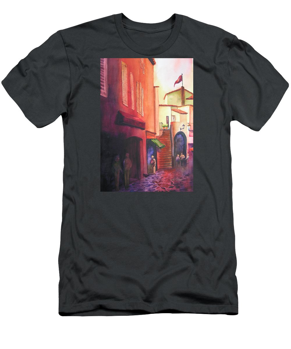 Europe Men's T-Shirt (Athletic Fit) featuring the painting Flag Over St. Tropez by Karen Stark