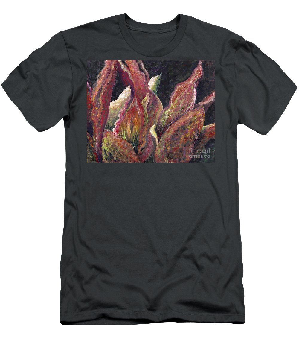 Leaves Men's T-Shirt (Athletic Fit) featuring the painting Flaming Leaves by Nadine Rippelmeyer