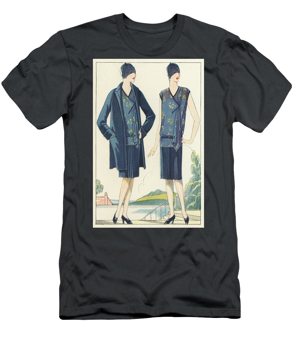 Flapper Men's T-Shirt (Athletic Fit) featuring the painting Flappers In Frocks And Coats, 1928 by American School