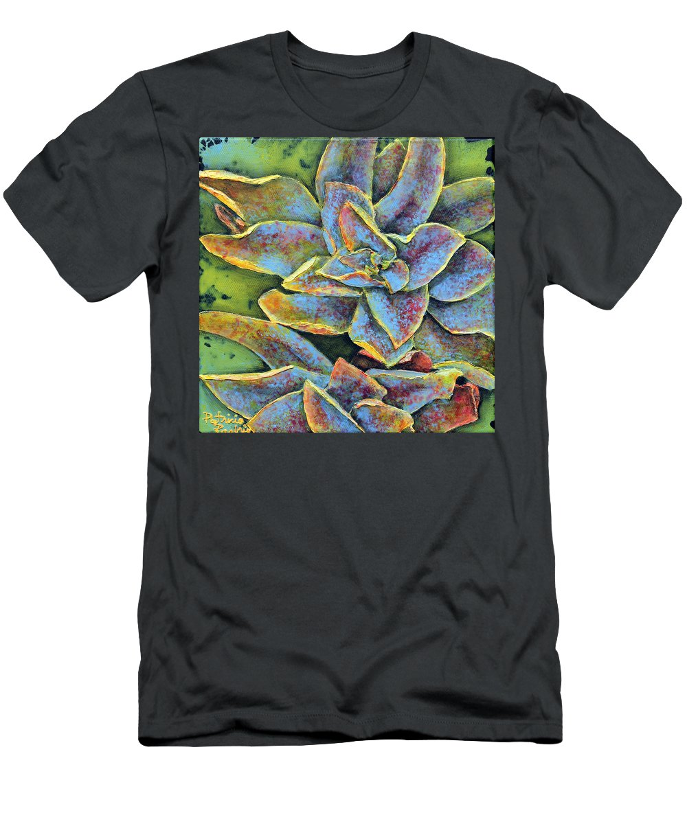 Succulent Men's T-Shirt (Athletic Fit) featuring the painting Flashy Succulent by Patricia Pasbrig
