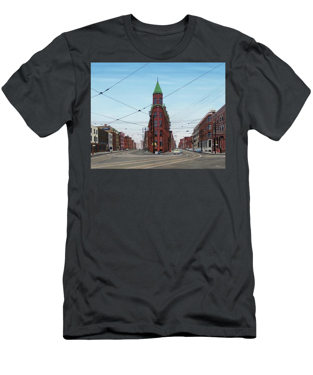 Streetscapes Men's T-Shirt (Athletic Fit) featuring the painting Flatiron Building 1955 by Kenneth M Kirsch