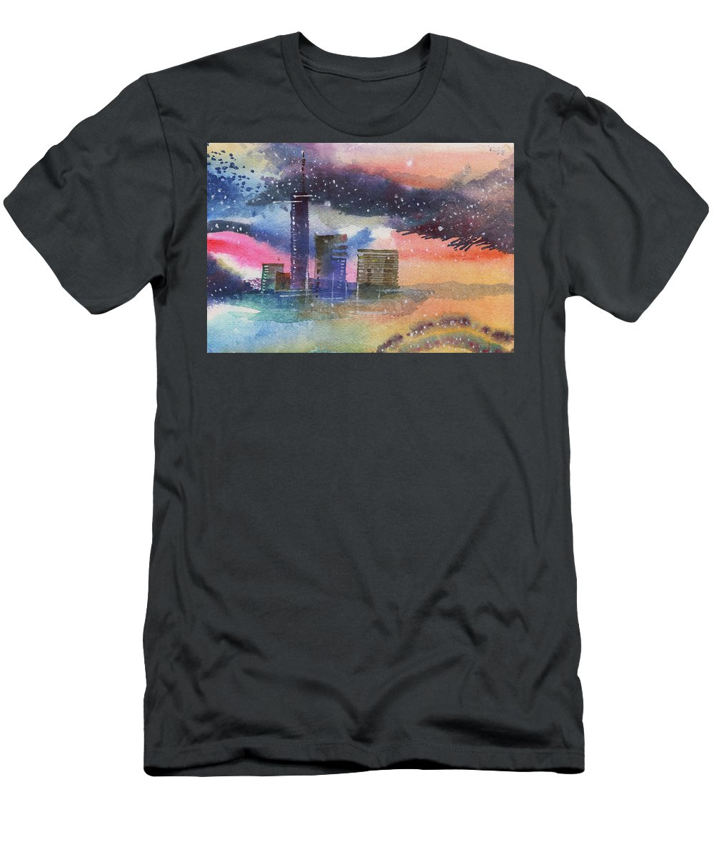 Townscape Men's T-Shirt (Athletic Fit) featuring the painting Floating City by Anil Nene