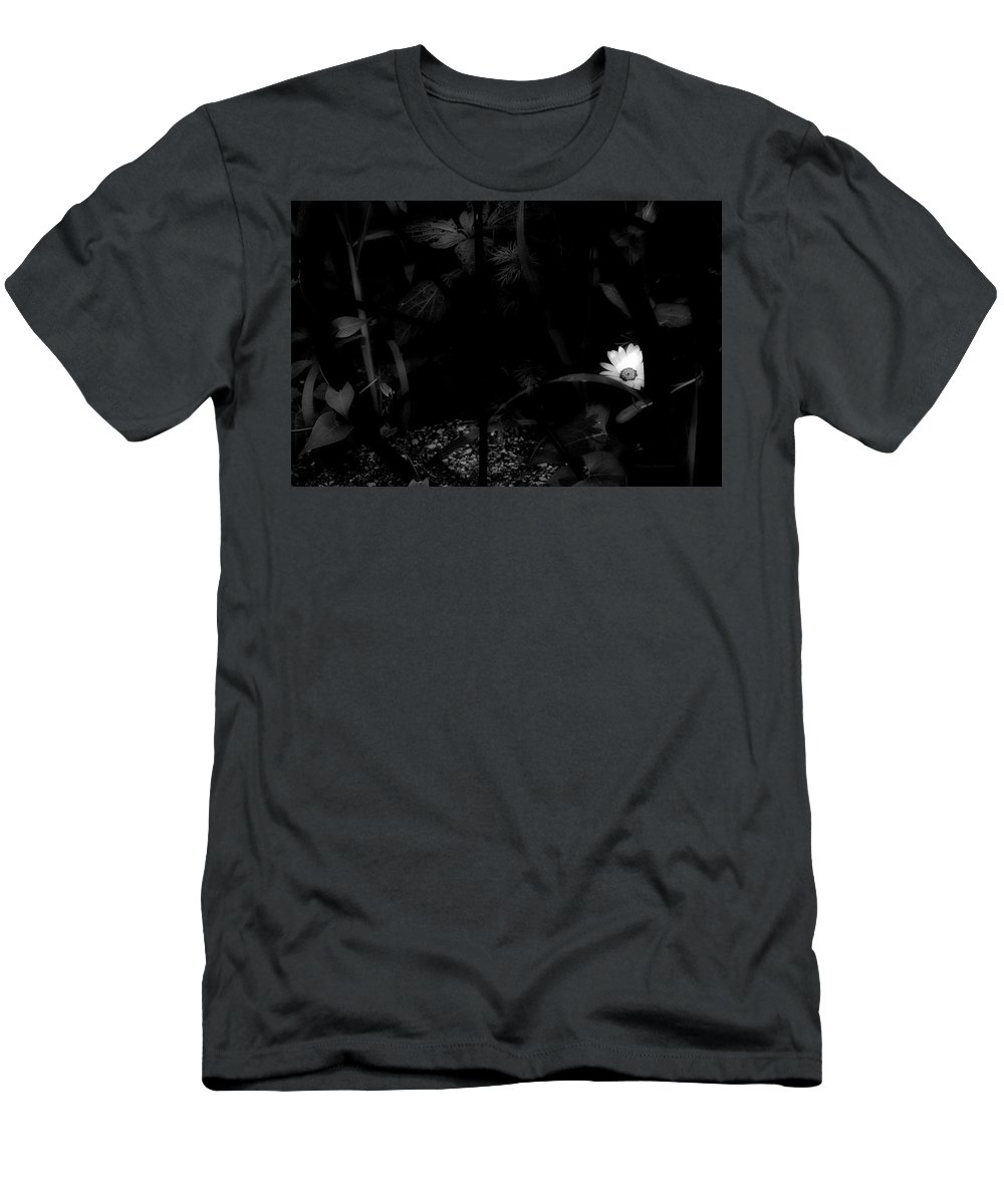 Flower Men's T-Shirt (Athletic Fit) featuring the photograph Floral Yellow Peek A Boo Bw by Thomas Woolworth