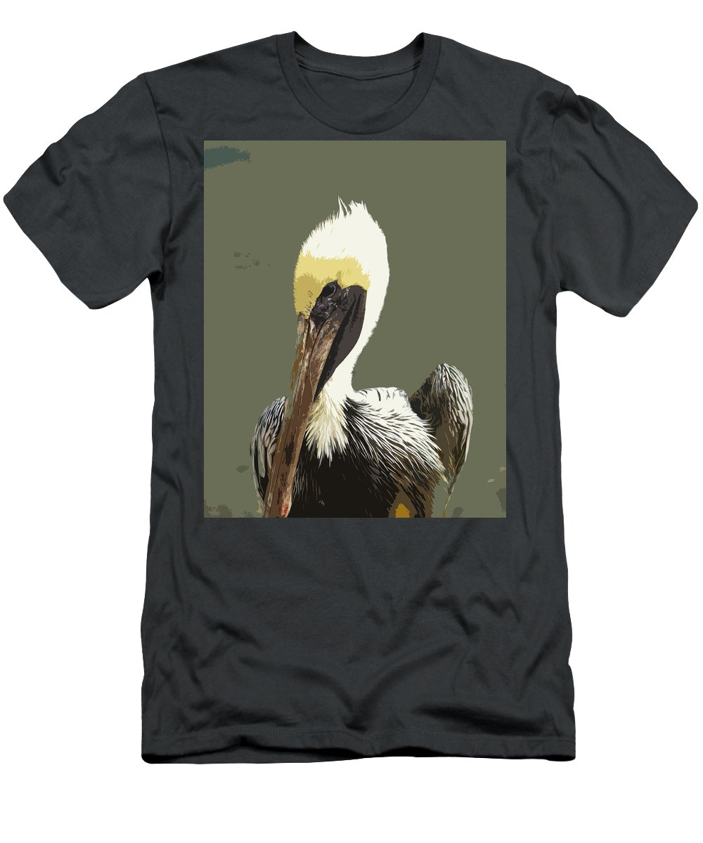 Pelican Men's T-Shirt (Athletic Fit) featuring the painting Florida Brown Pelican by Allan Hughes