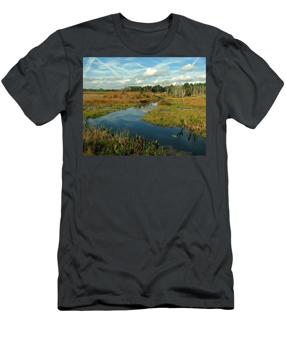 Nature Men's T-Shirt (Athletic Fit) featuring the photograph Florida Fall by Peg Urban