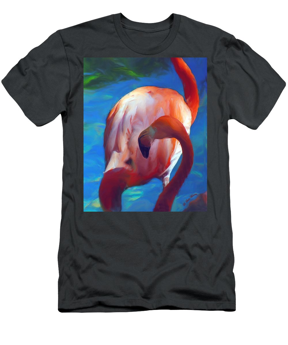Pink Men's T-Shirt (Athletic Fit) featuring the photograph Florida's Flamingo's by Robert Meanor