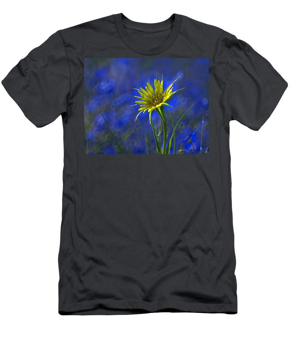 Flower Men's T-Shirt (Athletic Fit) featuring the photograph Flower And Flax by Heather Coen