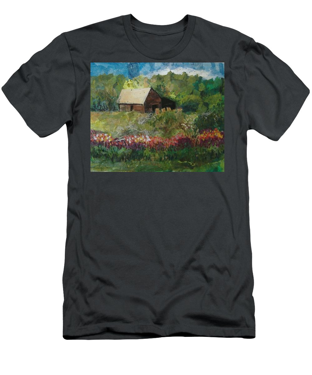 Landscape Men's T-Shirt (Athletic Fit) featuring the mixed media Flower Farm by Pat Snook