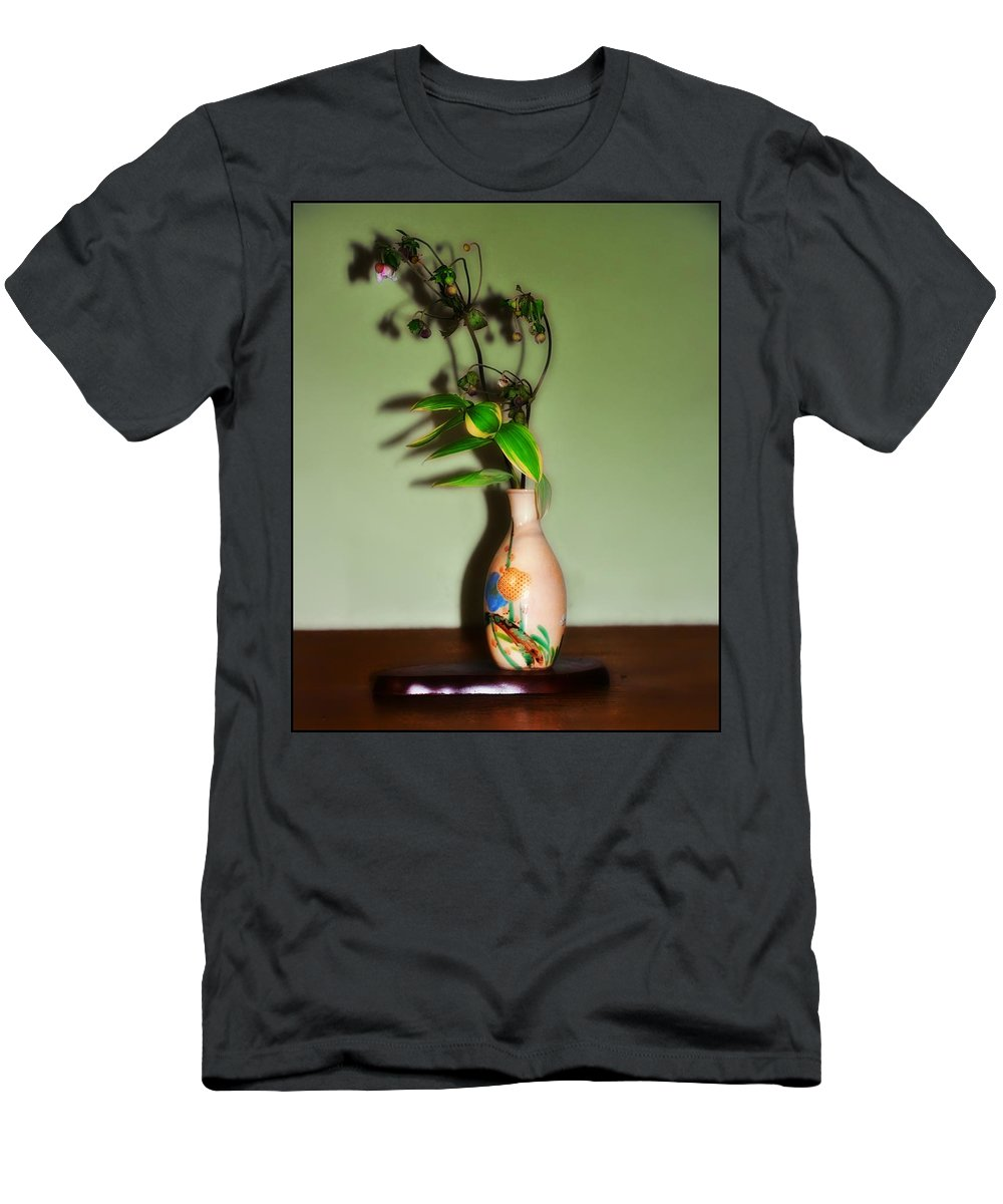 Flowers Men's T-Shirt (Athletic Fit) featuring the photograph Flowers In Japanese Vase by Bill Cannon